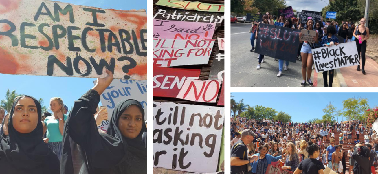 STELLIES STUDENTS SEEKING SPOTLIGHT With the hashtag movements trending across campus, Maties are seen drawing attention to issues important to them by protesting, making signs and gathering in solidarity. Photo: Luke Waltham. On the left: Joey Khan and Saaniyah Yacoob holding sign. Middle: Posters made by students. Top Right: Students marching down Merriman Street. Bottom Right: Crowd gathering on the Bib stairs in support of the Slut Walk campaing.