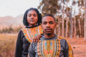 AFRICAN FASHION Models Felicia Mwenyo and Dean Kucherera wearing Amani Clothing designs.
